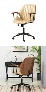 Cream Leatherette Adjustable Swivel Home Office Chair with Armrest