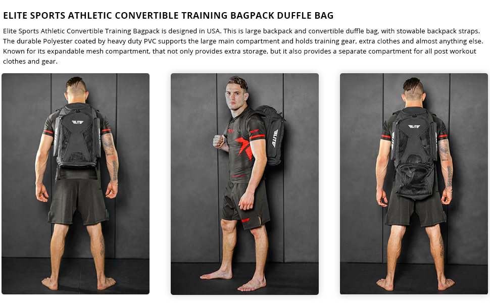 Gym Duffle Bag for MMA, BJJ, Jiu Jitsu, Boxing Gear, Elite Sports Athletic Expandable Gym Backpack
