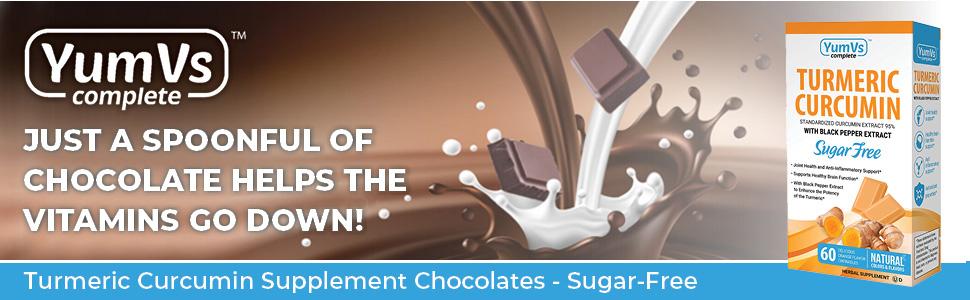 yumvs chocolate chewable vitamins supplement turmeric curcumin sugar free adults orange flavor