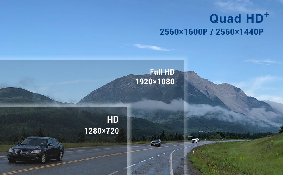 QuadHD+ 2560×1600P / 2560×1440P Full HD  1920×1080 Real  1280×720 image quality recording sensor