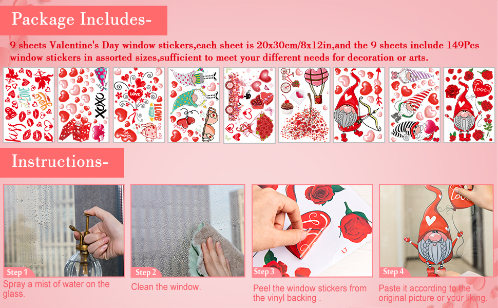 Valentine's Day Window Cling Stickers
