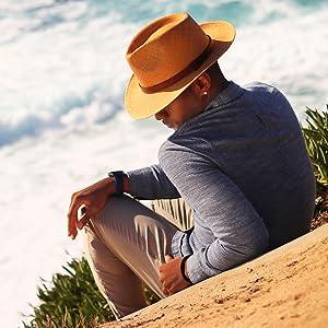 Man cliff ocean waves straw hat panama straw sun shade style stylish fahsion