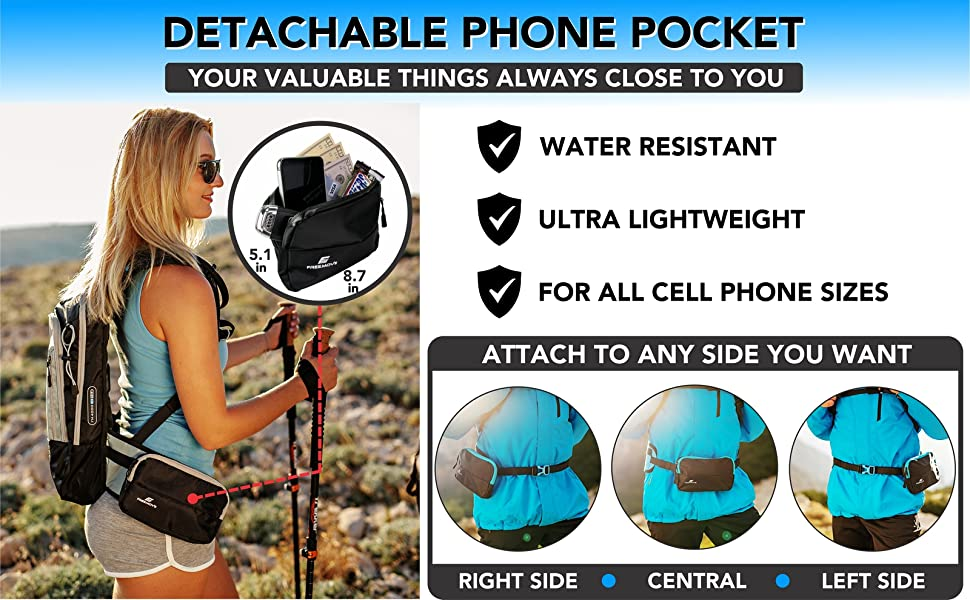 FREEMOVE hydration backpack daypack hiking accessories phone pocket pouch cell phone belt pocket