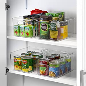 clear plastic storage bin set
