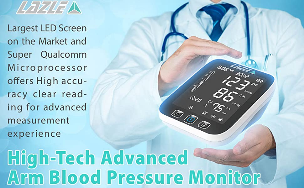 [All New 2019] Blood Pressure Monitor by LAZLE: Automatic Upper Arm Machine & Digital BP Cuff Kit - Largest Display - 200 Sets Memory, Includes ...