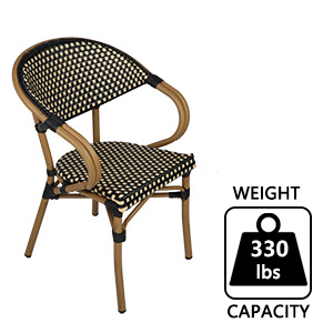 Outdoor Patio Dining Chairs Set of 4 Aluminum Frame Balcony Wicker Furniture Chair