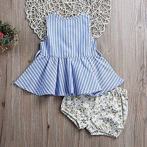 Baby Girls Outfits Summer Clothes Short Sleeve Striped T-Shirt + Floral Pants 2PCS Clothing Set