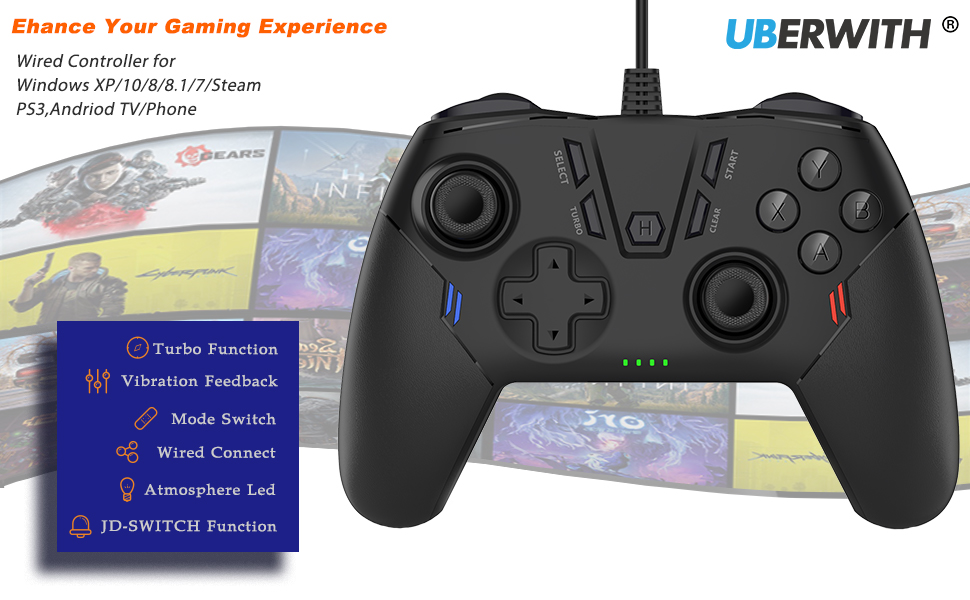 PC Controller, Controller for PC, Joystick Gamepad for PC Game Controller Compatible with Steam, PS3
