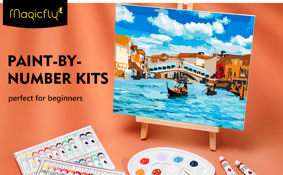 DIY Color Paint by Number Kit for Beginner Magicfly Paint by Number for Kids 9 x 12 Acrylic Painting by Number with 2 PCS MDF Canvas for Adult