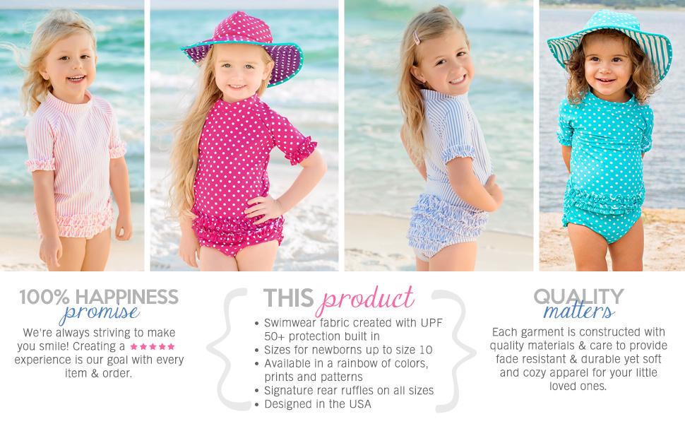RuffleButts Two Piece UPF 50+ Rash Guard Bikini Swimsuits