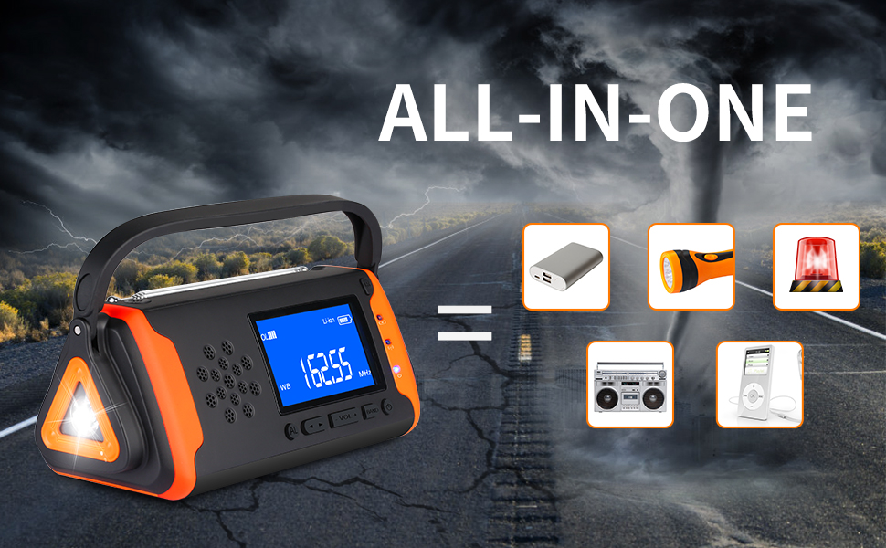Emergency weather alert radio