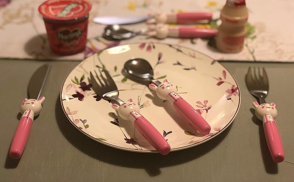 Exzact Couverts enfant en inox 6 Pièces: 2 x Fourchettes, 2 x Couteaux, 2 x Cuillères