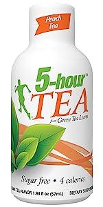 energy shot drink 5hour tea peach caffeine b vitamin