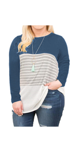VISLILY Women's Plus Size T-Shirt Long Sleeve Striped Tee Shirt Tunics XL-4XL