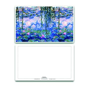 Water lilies Creanoso Claude Monet Famous Paintings Postcards Woman with Parasol - Twilight 60-Packs Note Cards Stocking Stuffers Gifts for Men and Women Nympheas Irises Sunrise