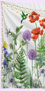 Floral Plants Tapestry Colorful Wild Flowers Spring Botanical Herb Tapestry Nature Blossom Bird