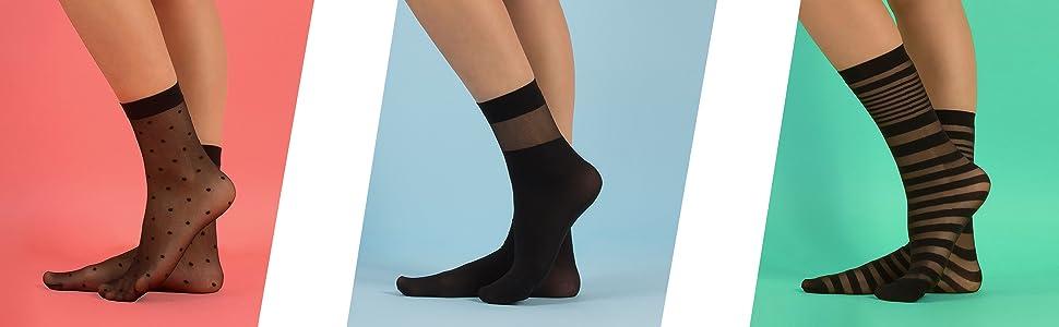 Calzini donna velati, calzini donna pois, calzini donna righe, calzini donna trasparenti, calzini