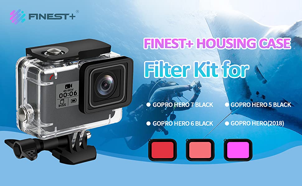 FINEST Waterproof Housing Case Filter Kit for GoPro Hero 7 Black//2018//6//5,Waterproof Case Diving Protective Housing Case+3Pack Dive Filters+Anti-Fog Insert+Bracket Accessories for Go Pro Hero7 Black
