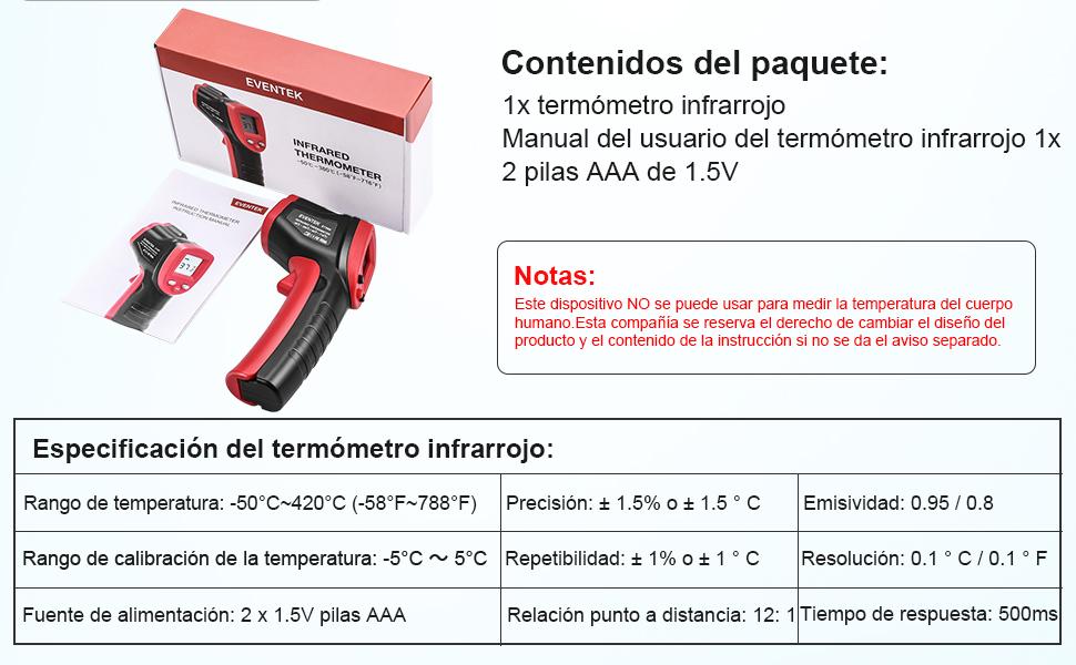 Termómetro Infrarrojo, Eventek Digital Laser IR Sin Contacto ...