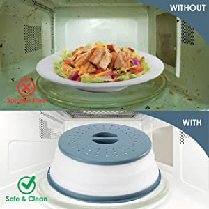 cleaner microwave keeps the food splatters inside the cover