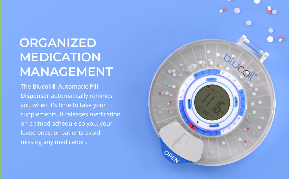 Blucoil, Automatic, Pill Dispenser, Medication Management, Battery Operated