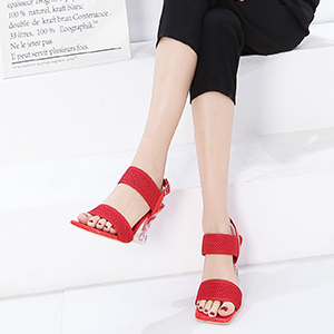 Women's Woven Fabric Heeled Sandals Ankle Strap Square Open Toe Wedding Dress Lucite Clear