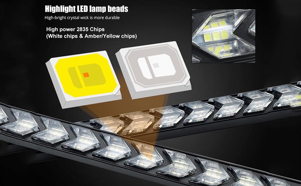 high bright smd 2835 led dual color drl arrow turn signal light