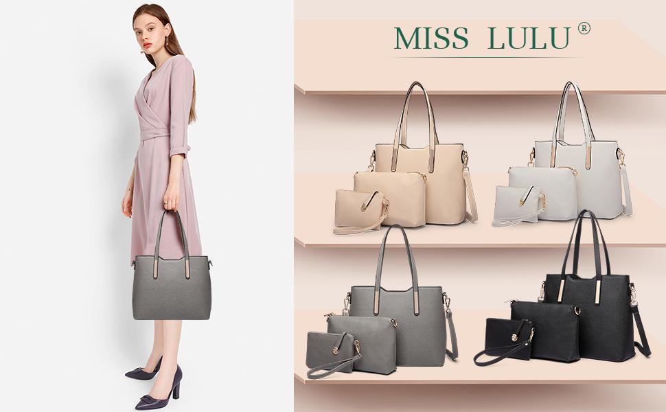 Amazon Com Miss Lulu Women Purses And Handbags Fashion Shoulder Bag Pu Leather Top Handle Tote Black Purse Set Crossbody Bags Satchel 3 Pieces 6648 Black Clothing