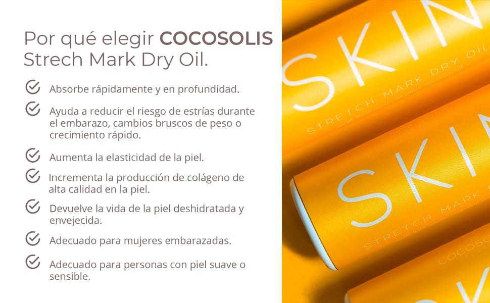 COCOSOLIS Bio Oil Antiestrías con aceite de almendras y mandarina - Crema antiestrías - Se absorbe y previene las estrías durante cambios de peso y el ...