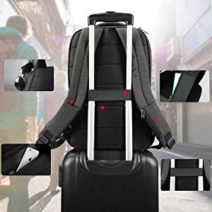 travel laptop backpack with luggage belt for easy carry
