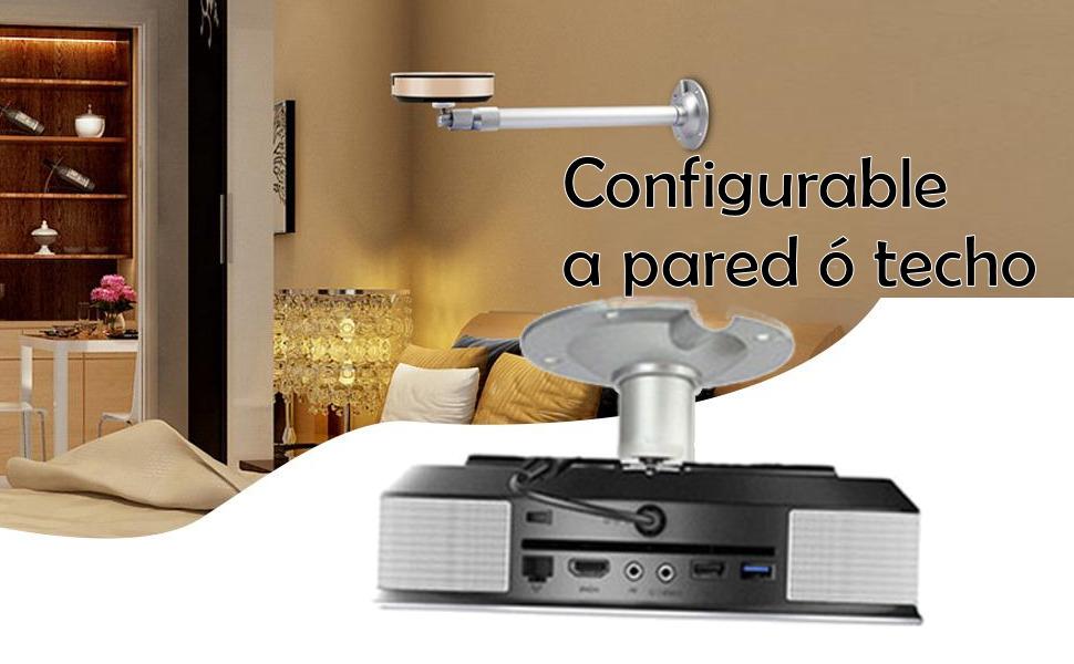 configurable a pared o techo soporte mini proyector agarre hasta 5 kilos ajustable a pared o a techo