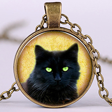 lucky black cat pendant necklace health wealth happiness luck