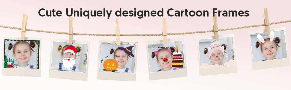 Victure kids camera features built-in 7 colorful video filters and 6 unique designed photo frames