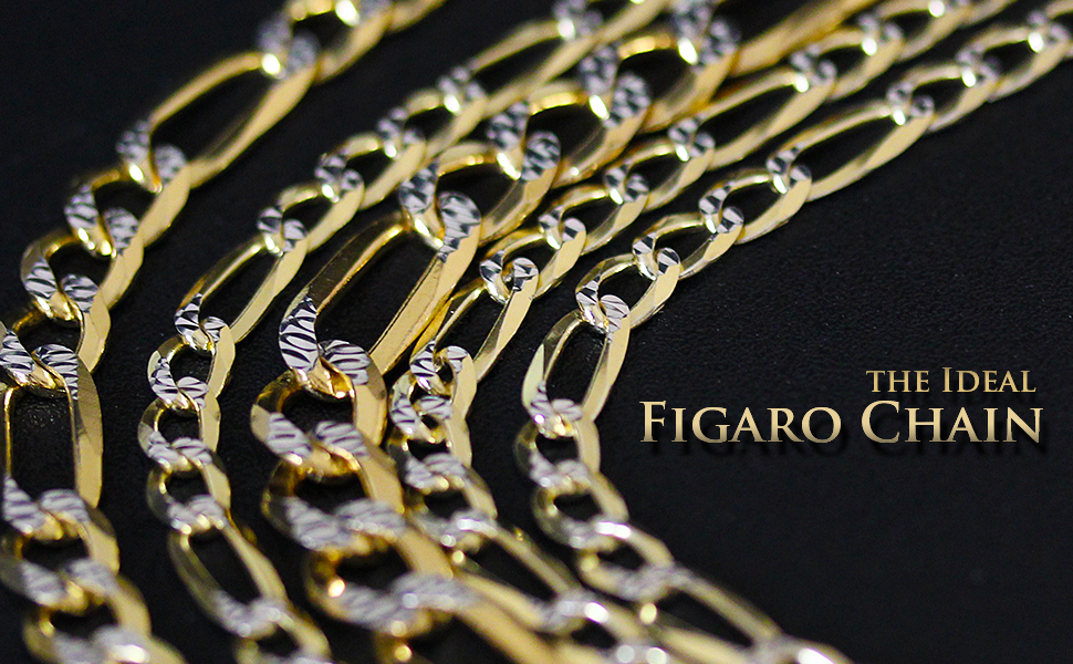 lifestyle solid link figaro heavy duty plain yellow gold diamond cut pave