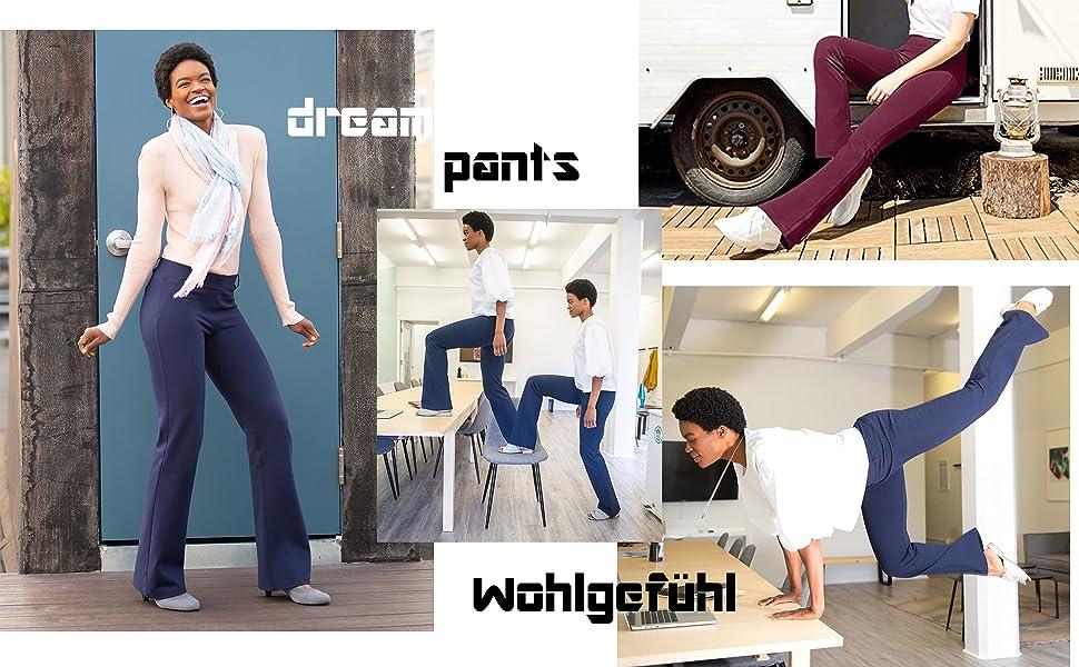 FITTOO Damen Lange Stretch Lagenlook Schlaghose Hose: Amazon