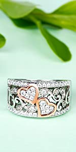 Jeulia 1 Carat Rose Gold Plated Wedding Band Round Cut Eternity Band Rings Cubic Zirconia  Rings