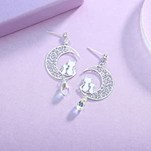 cubic zirconia crytsal teardrop engraved moon lovely couple cat mother daughter sterling silver post