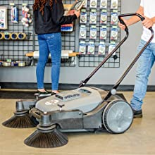 push sweeper power industrial commercial broom grass leaf cordless turf haaga bissel floor brush
