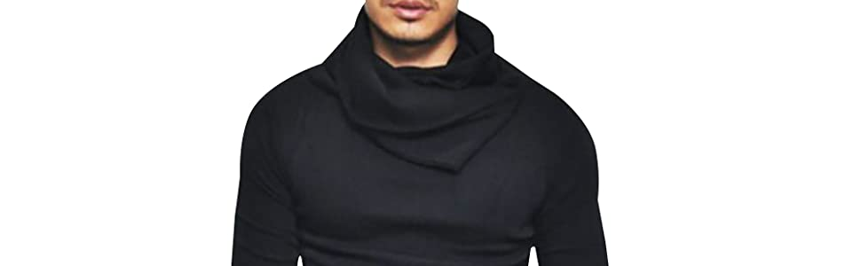Fashion slim fit turtleneck men longline t shirt hemp sweatshirt men slim hoodie streetwear shirt