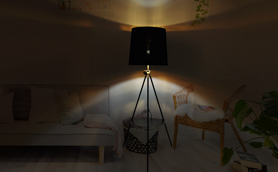 moder mid century tripod floor lamp shelf tall standing lights bedroom living room reading dimmable