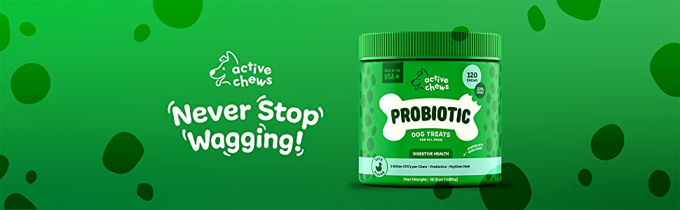 Never Stop Wagging with Active Chews' Probiotic Dog Chews