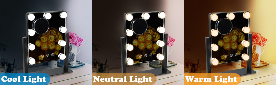 Dimmable 3 Color Lighted Mirror