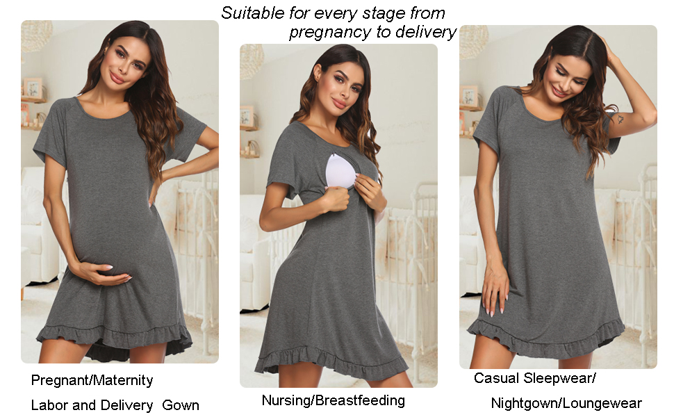 Ekouaer 3 in 1 nightgown nursing labor and delivery gown breastfeeding sleepwear