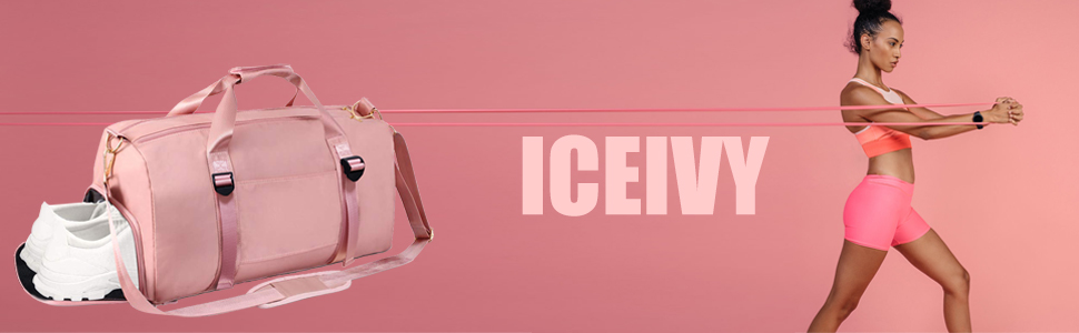 ICEIVY BANNER of pink duffle bag