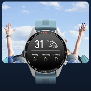 smart fitness watch with heart rate monitor calorie counter sleep monitor weather forecast
