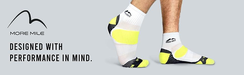More Mile Strive Black Running Socks 3 Pack