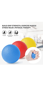 Hand Grip Strength Trainer, Stress Relief Ball for Adults and Kids, Wrist Rehab Therapy Hand Grip