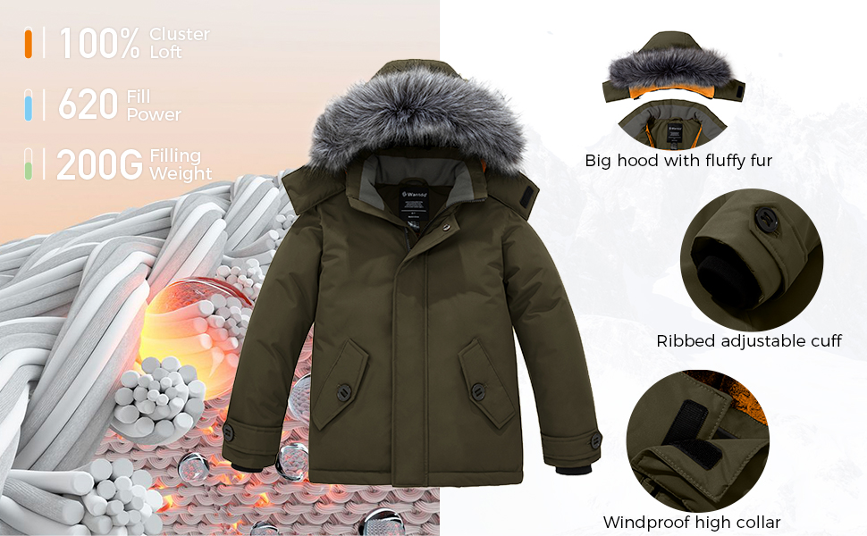 Wantdo Boys' Quilted Winter Coats