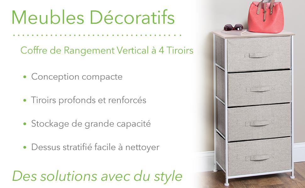 Decorative Furniture Vertical 4 Drawer Storage Unit