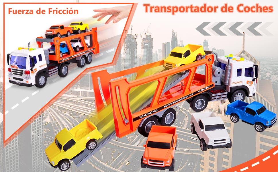 Buyger 5 en 1 Juguete Coche Maletín Transportador de Camión Vehículos Juegos Regalo para Niños 3 4 5 Años: Amazon.es: Juguetes y juegos